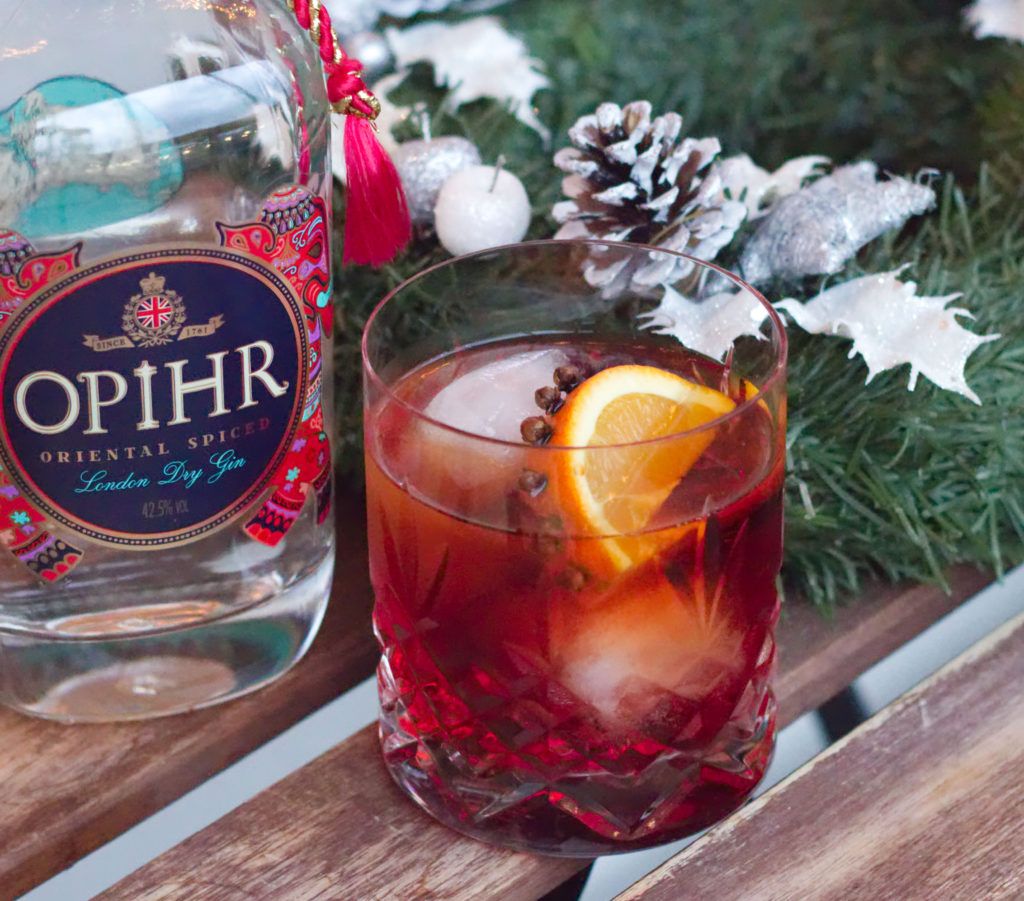 Negroni cocktail with cloves and Opihr Gin