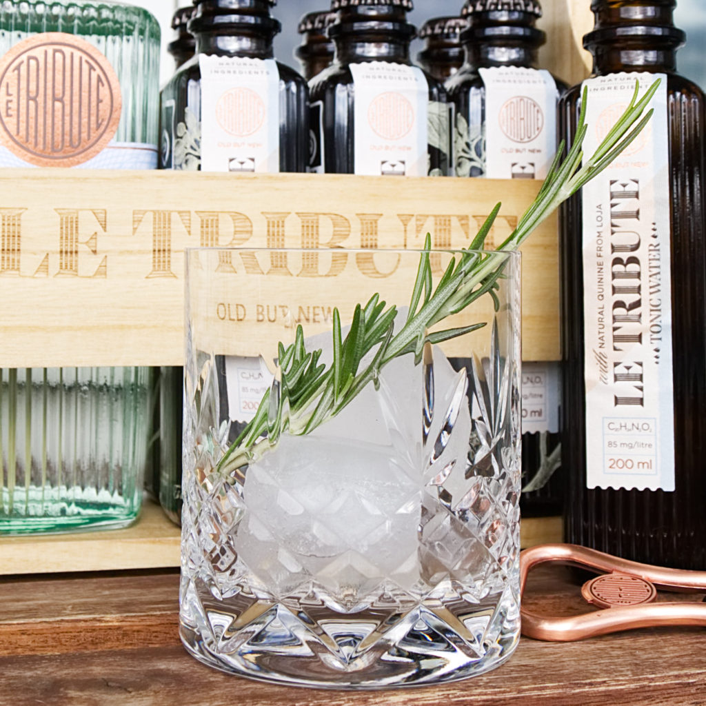 Gin and tonic with a sprig of rosemary